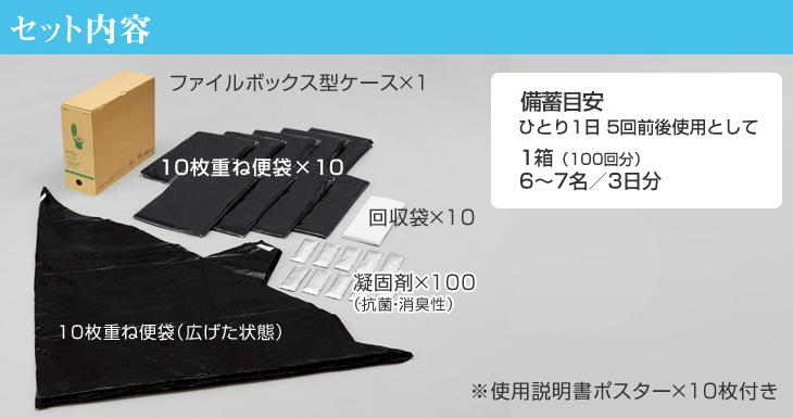 セット内容。便袋100回分。凝固剤100回分。回収袋10枚。1箱でおよそ6〜7名、3日分の内容です。