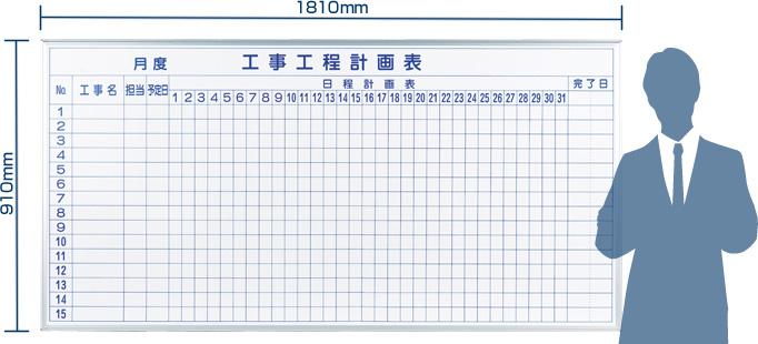 壁掛けホワイトボード、工事工程表MH36kk。サイズ:幅1810mm×高さ910mm
